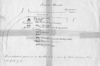 Plan of a section of the graveyard at St John's, Sharow